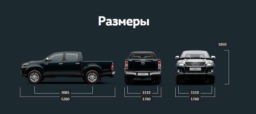 Размеры Toyota Hilux